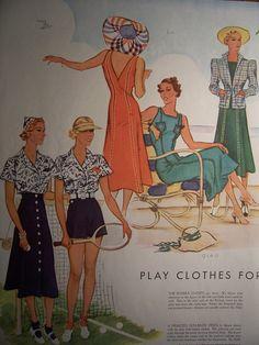 1937 MCCALLS FASHION PATTERNS /1930s Pattern Advertisement Frocks Dresses Costumes Vintage Fashions. $6.50, via Etsy.