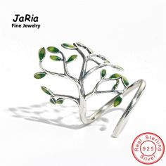 JaRia Fine Jewelry Newest Handmade Sterling Silver 925 Jewelry Tree Shaped Wraped Ring Trendy Design Women Silver Rings SR002