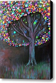 Could easily turn this into a kid craft (with melted crayon grass, maybe) (maybe a wire wrapped tree instead of yarn). Lots of ideas, saving for future reference. Made with colorful buttons and crayons or pastels, yarn and white glue for the tree.