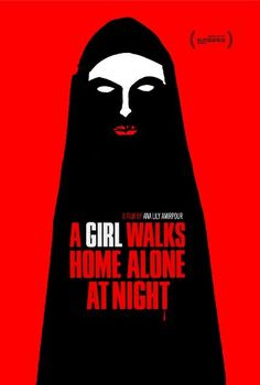 """The 29 Coolest Movie Posters Of 2K14 #refinery29  http://www.refinery29.com/best-movie-posters-2014#slide-6  A Girl Walks Home Alone At Night  Fitting that the coolest movie of the year gets the coolest poster. The bleeding """"T"""" signals what lays ahead in rookie director Ana Lily Amirpour's Iranian vampire Western film. (Yes, you read that correctly.)"""