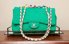 Jewel Mint custom color Chanel for Cher Coulter Discount Handbags, Cheap Handbags, Handbags Online, Cheap Designer Purses, Wholesale Designer Handbags, Designer Bags, Designer Clothing, Designer Shoes, Chanel Purse