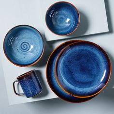 Modern Dinnerware, Stoneware Dinnerware, Farmhouse Dinnerware, Blue Dinnerware Sets, Blue Plates, Plates And Bowls, Salad Plates, Dinner Plate Sets, Dinner Plates