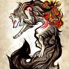 Amazing Beautiful Wolf Tattoo Design