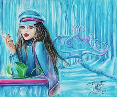 La poetisa del bosque helado | The poetess of the ice woods | Acrílico sobre lienzo | Acrylic on canvas by Pili Tejedo 65 x 50 cm