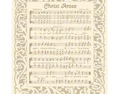 CHRIST AROSE --- 8 x 10 Antique Hymn Art Print on Parchment