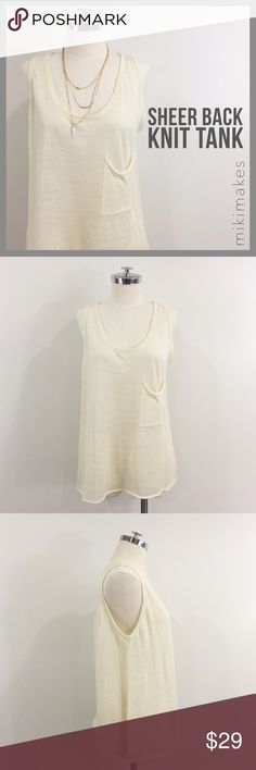 """🆕 HYPR • NWT cream knit & chiffon combo tank • BRAND NEW perfect layering piece; this tank is a thin sheer knit in the front and a delicate chiffon in the back • single front pocket • abalone button back detail • scoop neck • small rolled hem  81% viscose 17% polyamide 2% elastane  ✂️  Bust = 40"""" ✂️  Waist = 40"""" ✂️  Length = 25""""  • sorry no trades • please feel free to ask any questions  ❤️ @mikimakes Hype Tops Tank Tops"""