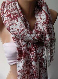 Red Shawl / Scarf Headband Pareos / soft cotton by womann