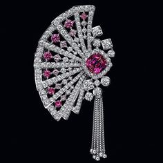 -Gorgeous Rubies-A fan ring from the Hanaougi collection with diamonds, a ruby , and pink sapphires by . Ruby Jewelry, Gems Jewelry, High Jewelry, Luxury Jewelry, Pendant Jewelry, Diamond Jewelry, Jewelry Accessories, Jewelry Design, Unique Jewelry