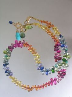 To Life...Rainbow of Mostly Sapphires Signature Original Necklace or Double Bracelet via Etsy