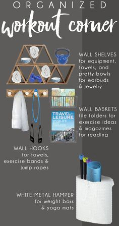 Stylish Home Gym Ideas for Small Spaces SEE THE FINISHED SPACE! Home Gym Ideas – small space, big style! Turn a corner into a mini-home gym with creative storage hacks. Tips for exercise room decor that's more spa-like than locker room! Workout Room Decor, Workout Room Home, At Home Workouts, Home Gym Decor, Gym Room At Home, Bar Design, Home Gym Design, Design Ideas, Studio Design