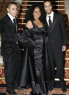 Legendary singer Diana Ross and her two sons Evan Ross Naess(L) and Ross Arne Naess (R) attended the Norwegian Nobel Committee's Banquet at the Grand Hotel in Oslo on December 10, 2008.