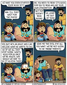 Simon and Bryan Steel's comic, AJ & Magnus, shows the adorable side of raising a rambunctious young boy (and his dog). Gay Comics, Cute Comics, Funny Comics, Stupid Funny Memes, Hilarious, Weird But True, Funny Happy, Cute Gay, Tumblr Funny