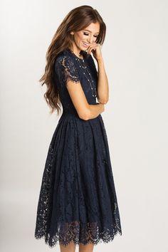 Eleanor Navy Lace Midi Dress