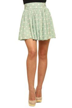 Adorable Mint Polka Dot Peppermint Pattie Skirt #mint #green #polka #dot #clothing #ladies #women #skirt #fashion Material Girls, Mint Skirt, Pastel Skirt, Playing Dress Up, My Wardrobe, Virtual Closet, Pretty Outfits, Dress To Impress, Mint Nails