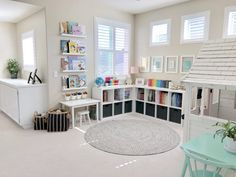 A Reimagined Playroom – Project Nursery kid playroom design in basement iwth toy storage, cubby storage for kid toys, play table and play house in neutral playroom design, bonus room in basement for kid space Playroom Design, Playroom Decor, Bedroom Decor, Colorful Playroom, Kids Decor, Daycare Room Design, Playroom Colors, Playroom Layout, Playroom Table