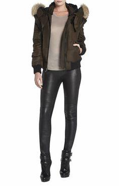 Chelsea Fur-Trimmed Bomber Jacket #liquidleggings