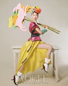 Vogue Korea February Interesting take on the hanbok shoe Foto Fashion, Korea Fashion, Asian Fashion, Fashion Art, Editorial Fashion, Fashion Design, Korean Traditional Clothes, Traditional Dresses, Vogue Korea