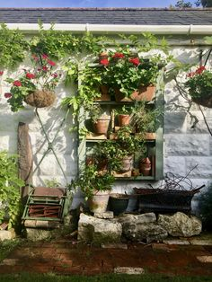 Up-cycled wooden pallet with wired in flower pots & succulents in bricks on wall. Old traditional lawnmower added for 'traditional' effect.
