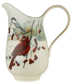 LaLa Love!!   Lenox Winter Greetings Scenic Gold-Banded Fine China Pitcher Lenox
