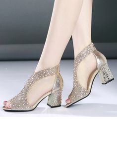 Women's Rhinestone Chunky Heel Pumps - Gold / US 6 (Label Size Gold Pumps, Pumps Heels, High Heels, Chunky Heel Shoes, Pretty Shoes, Latest Fashion For Women, Neue Trends, Wedding Shoes, Women's Shoes Sandals