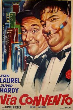 Vintage Italian 1950s Poster Laurel And Hardy Drawing