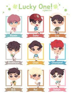 Exo Cartoon, Exo Stickers, Exo Songs, Cocktail Illustration, Exo Anime, Exo 12, Exo Fan Art, Kpop Drawings, Cool Anime Girl