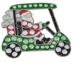 Navika Santa's Cart Swarovski Crystal and Glitz Ball Marker with Hat Clip