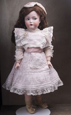 "24"" Antique German Bisque flirty-eyed character doll by Dressel Antique dolls at Respectfulbear.com"