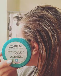 @natmischello testing out the new @lorealusa #extraordinaryclay mask I received from @influenster for free! Verdict so far? We love the smell, but used half the product already on just her hair. #lorealhair #contest #ad #freebie #influenster #voxbox #haircare #hairproducts #reviews @lorealhair @influenster