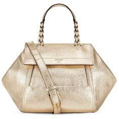 Tory Burch Half-Moon Metallic Small Satchel ($495) ❤ liked on Polyvore featuring bags, handbags, spark gold, leather purses, satchel handbags, pink leather handbags, pink purse and metallic leather handbags