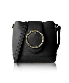 89369f62d481 Women s Round Buckle Cross Body Bucket Bag Mini Purse - Black - CJ18E8W80SI