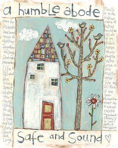 Folk Art, House and Tree Painting art by Lori Siebert, Whimsical, Textural, Patterned, Applique, Lori Seibert, SMT
