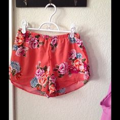 Orange floral shorts Great relaxed shorts to lounge around the house Shorts