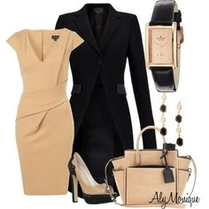 Classy Fashion Outfits 2012 Classy In Cream Fashionista Trends Wallpaper Komplette Outfits, Classy Outfits, Fashion Outfits, Fasion, Girly Outfits, Fashion Ideas, Black Outfits, Church Outfits, Polyvore Outfits