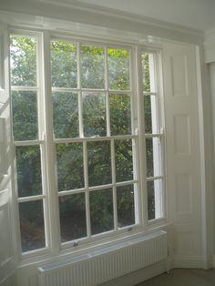 Sash window and cast iron radiator