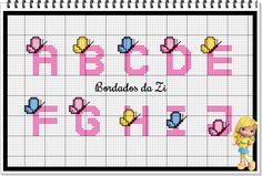 Cross Stitch Letters, Cross Stitch Borders, Embroidery Stitches Tutorial, Needlepoint, Butterfly, Quilts, Cross Stitch Alphabet, Cross Stitch Embroidery, Patterns