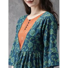 Buy Anouk Women Green & Rust Red Bagru Print A Line Kurta - Kurtas for Women 6531577 A Line Kurta, Printed Kurti, Kurta Designs Women, Blue Green, Yellow, Frock Design, Jacket Pattern, Green Print, Anarkali