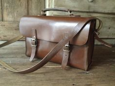 Brown Leather Briefcase, Messenger Bag, French Tool Case Satchel, Mid Century by JansVintageStuff on Etsy https://www.etsy.com/listing/472987863/brown-leather-briefcase-messenger-bag