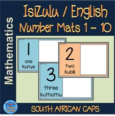 Isizulu and english number mats. Laminated, these mats can double up as playdough mats as well. Get the children to match objects to the number featured on the mat, make the number in playdough and more. Numeracy, Mathematics, Teaching Resources, Numbers, English, Education, Objects, Words, Children