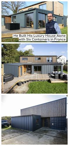 He Built His Luxury House Alone with Six Containers in France - Living in a Container Sea Container Homes, Shipping Container Home Designs, Shipping Container House Plans, Building A Container Home, Container Buildings, Container Architecture, Container House Design, Shipping Containers, Design Living Room