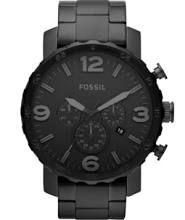Fossil Nate Chronograph - JR1401 - Black Dial - Black Stainless Steel Case - Black Stainless Steel Band