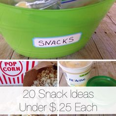 """Get ready for summer with these 20 snacks under $.25 each. You can make a simple snack bin to grab the snack from. No more """"I'm hungry""""."""