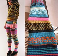 Fun knits found here. I would totally rock the knitted pants. Knitwear Fashion, Knit Fashion, Hand Knitting, Knitting Patterns, Crochet Wool, One Piece Outfit, Knitted Hats, Knitted Tights, Cool Sweaters