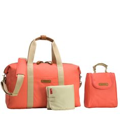 Storksak Bailey Weekender Diaper Bag Set - Coral | Designer Diaper Bags  www.duematernity.com Follow Due Maternity on Instagram www.instagram.com... BEST selection of Maternity clothes anywhere!