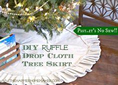 DIY No Sew Ruffle Drop Cloth Tree Skirt