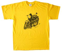 T-shirt moto Vincent HRD Black Shadow 1000 cm3 1948 yellow color  http://www.tshirtvintage.com