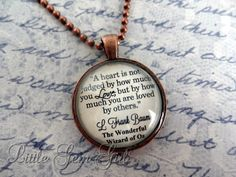 Wizard of Oz Book Quote Necklace Book Jewelry or Keychain Glass Antique Copper Pendant Going Away Gift Best Friend Necklace Heart not judged Wizard Of Oz Quotes, Wizard Of Oz Book, Book Jewelry, Jewelry Quotes, Fairytale Quotes, Going Away Gifts, Alice And Wonderland Quotes, Friend Necklaces, Best Friend Gifts