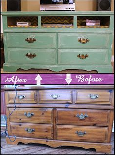 Turn a dresser into an entertainment center. by isrc salon condo, dresser t Refurbished Furniture, Paint Furniture, Repurposed Furniture, Furniture Projects, Furniture Makeover, Home Projects, Redoing Furniture, Distressed Furniture, Vintage Upcycling