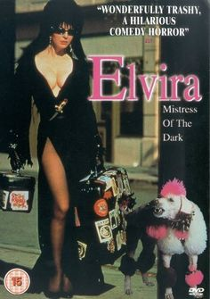 ELVIRA: MISTRESS OF THE DARK, Directed by James Signorelli. With Cassandra Peterson, Phil Rubenstein, Larry Flash Jenkins, Damita Jo Freeman. When her Great Aunt dies, famed horror hostess Elvira heads for the uptight New England town of Falwell to claim her inheritance of a haunted house, a witch's cookbook and a punk rock poodle. But once the stuffy locals get an eyeful of the scream queen's ample assets, all hell busts out and breaks loose.