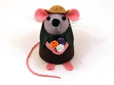 Gardener Mouse Ornament felt rat hamster mice by TheHouseOfMouse, $34.00